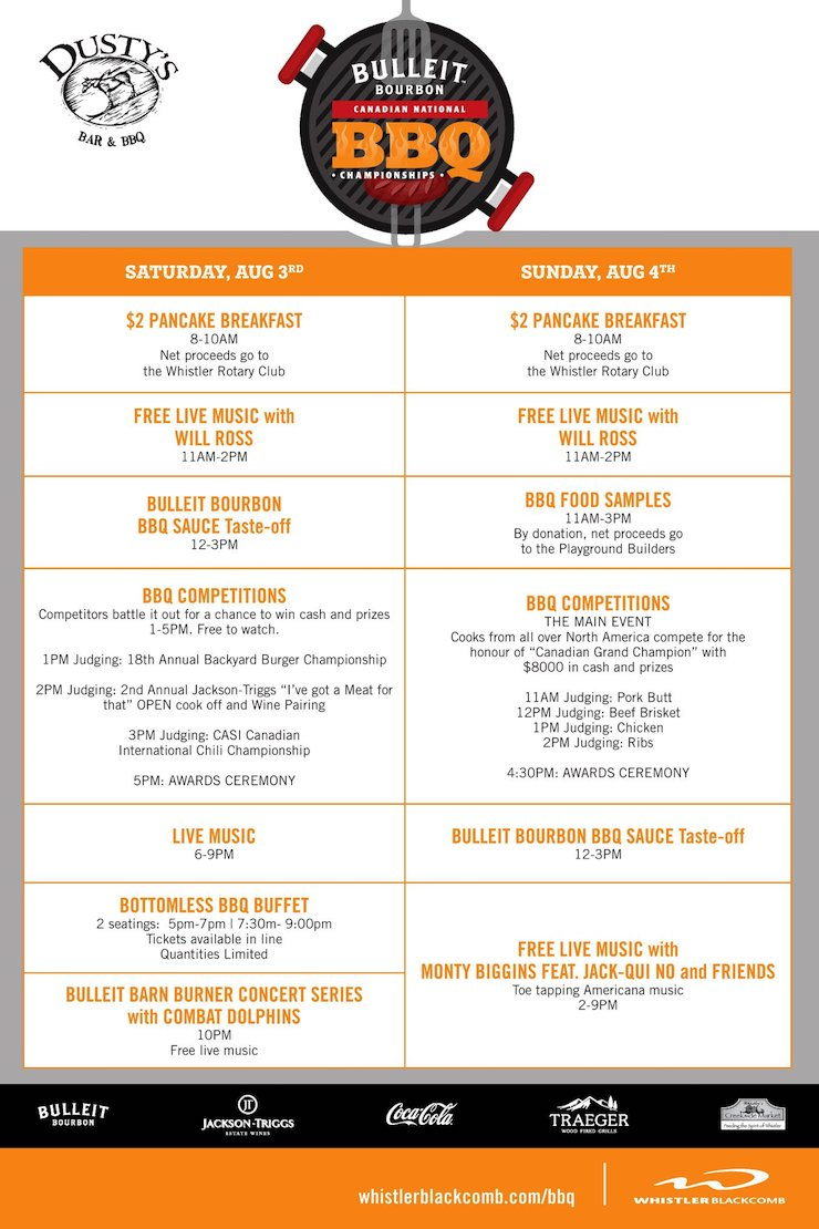 Whistler Bulleit Bourbon Canadian National BBQ Championships 2019 Schedule