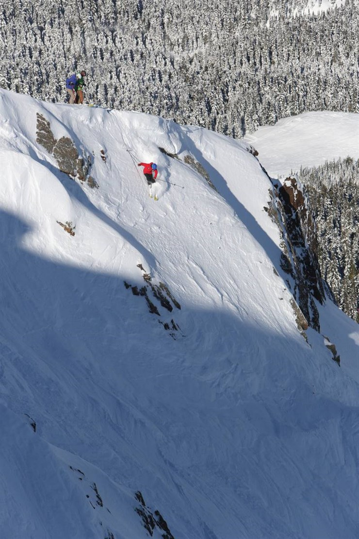 Extremely Canadian Steep Skiing Cliff