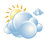 Mostly cloudy with a shower in the area