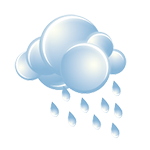 Cloudy with occasional rain followed by a steadier rain